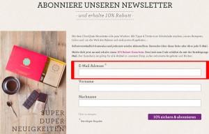 Chocqlate.com Deutschland Newsletter