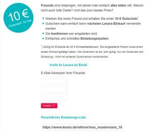 Lesara.de Deutschland Freunde Einladen