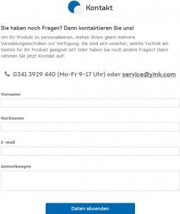 Yink.com Deutschland Kontakformular